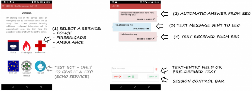 DEC112 App Screenshot